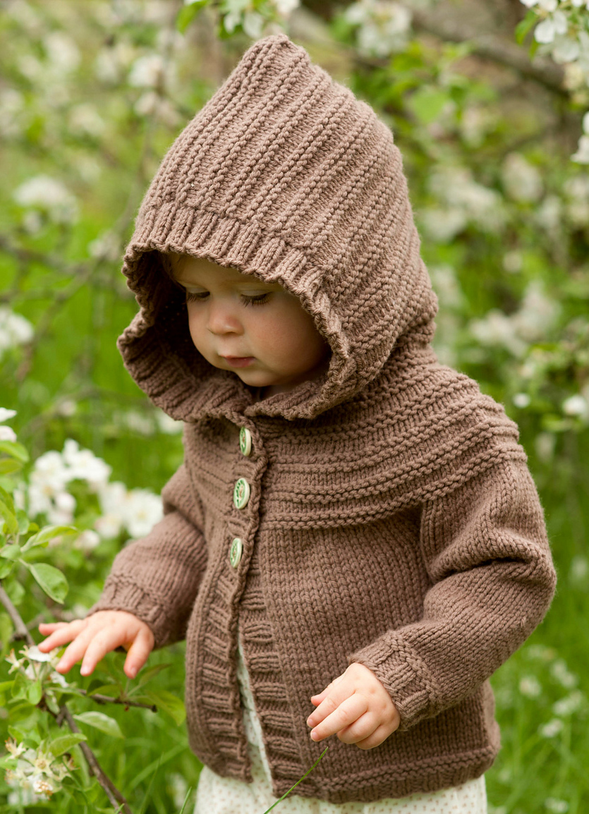 Knitting Pattern for Odette Hoodie - Baby or Child