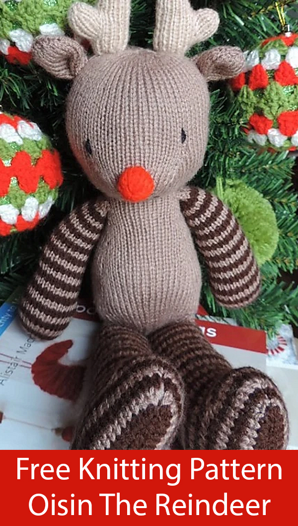 Free Knitting Pattern for Red-Nosed Reindeer Toy