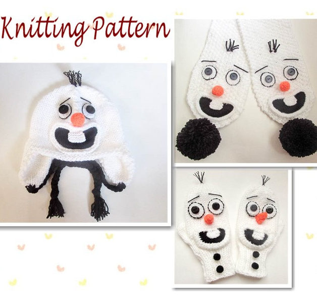 Knitting Pattern for Olaf Hat, Scarf, and Mittens