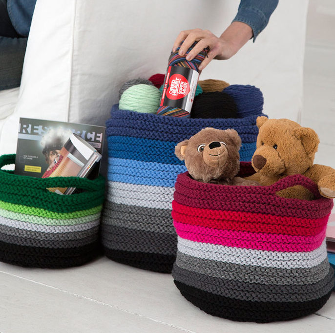 Free Knitting Pattern for Ombre Baskets
