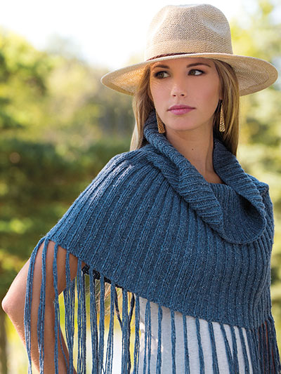 Knitting Pattern for On the Fringes Capelet Poncho