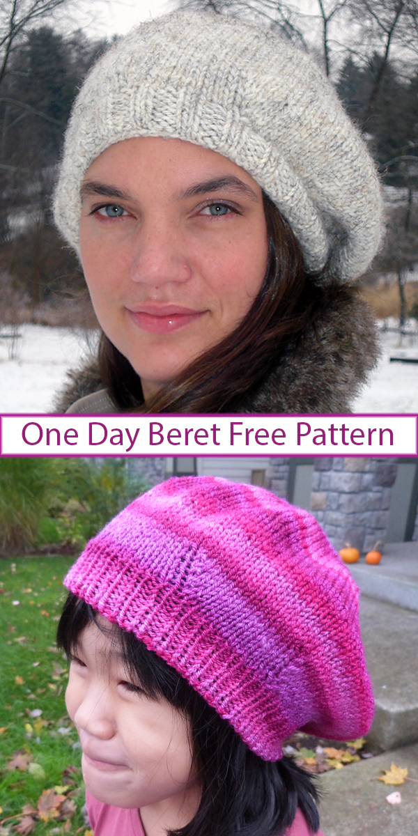 Free knitting pattern for One Day Beret