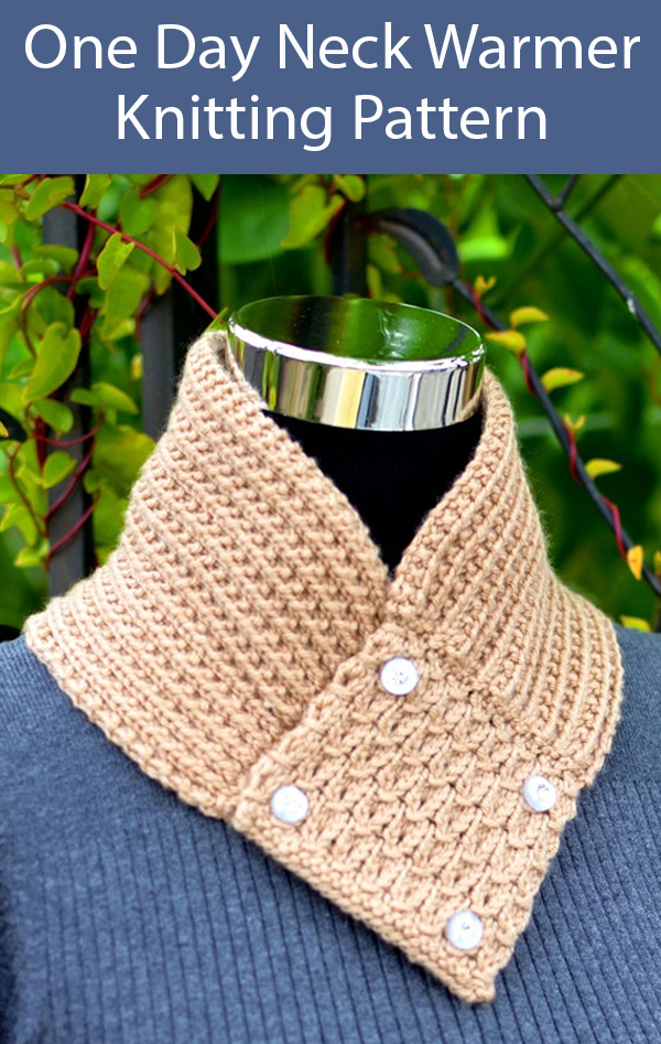 Knitting Pattern for One Day Neck Warmer Cowl