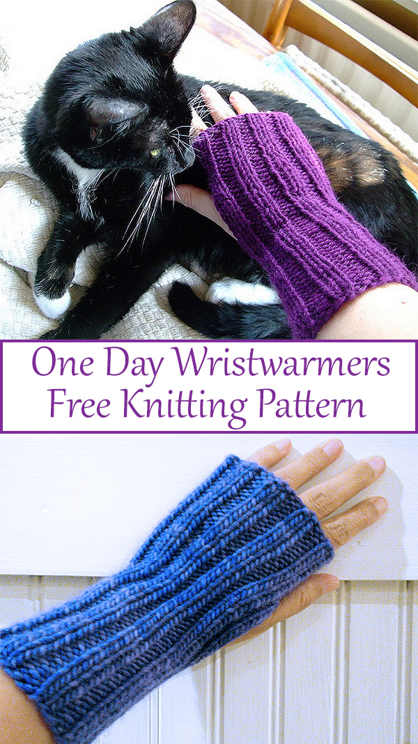 Free knitting pattern for One Day Wristwarmers