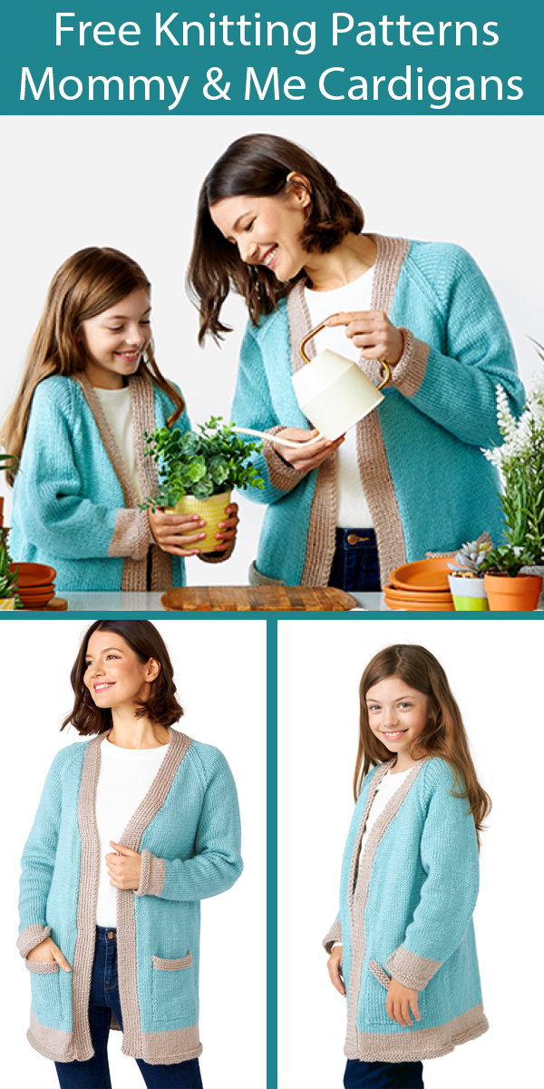 Free Knitting Patterns for Matching Adult and Child Cardigans