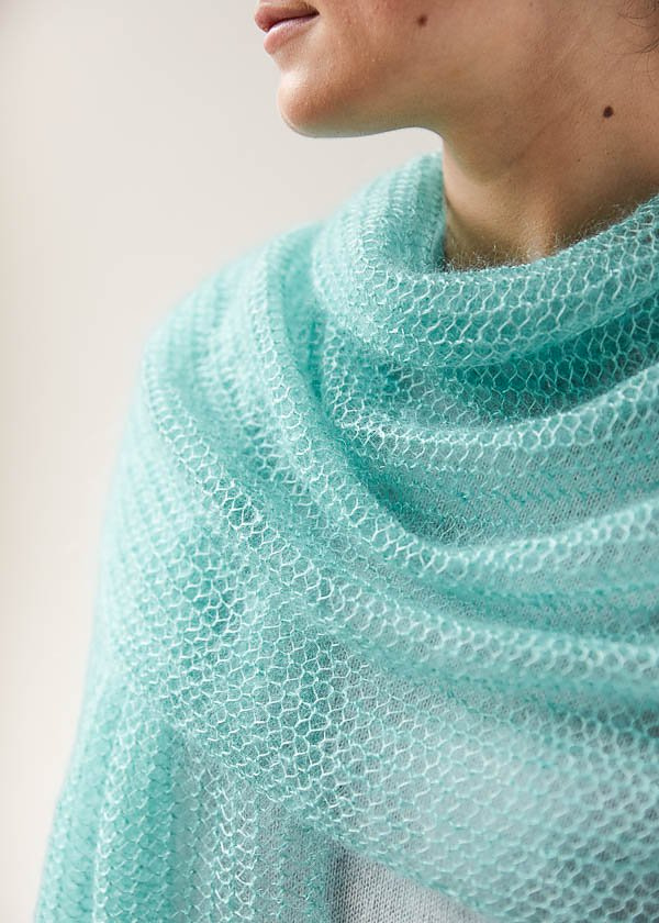 Free Knitting Pattern for Easy One Row Repeat Open Air Wrap