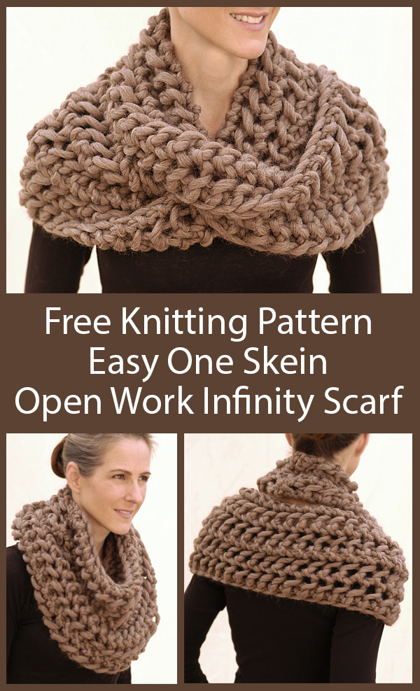 Free Knitting Pattern for Easy One Skein 1 Row Repeat Open Work Infinity Scarf