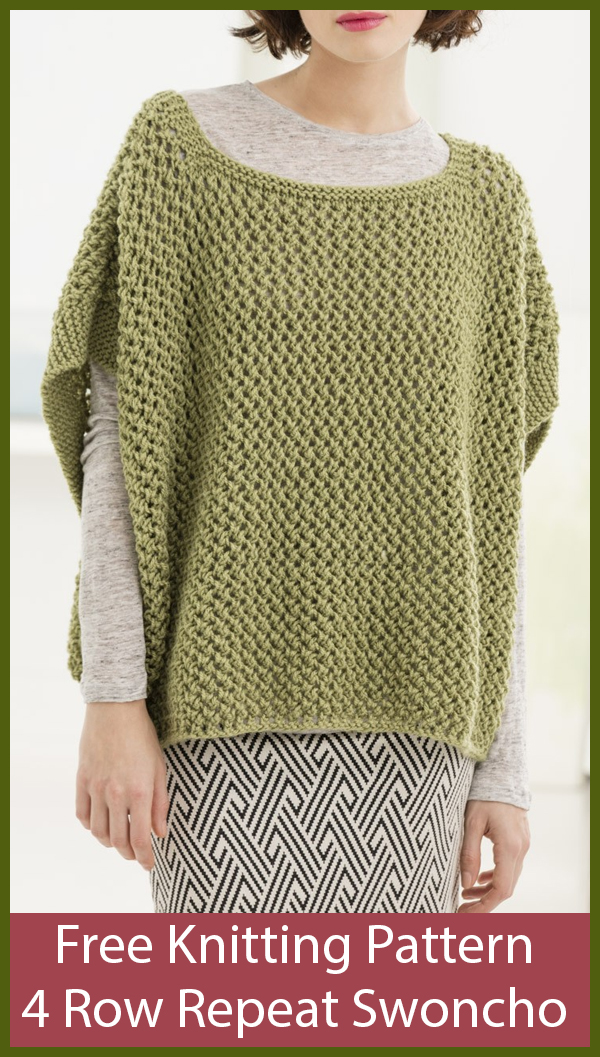 Free Knitting Pattern for 4 Row Repeat Open Work Poncho With Sleeves