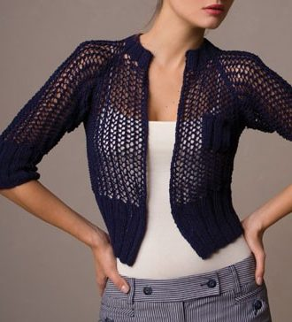 Knitting Pattern for One Row Repeat Openwork Cardigan