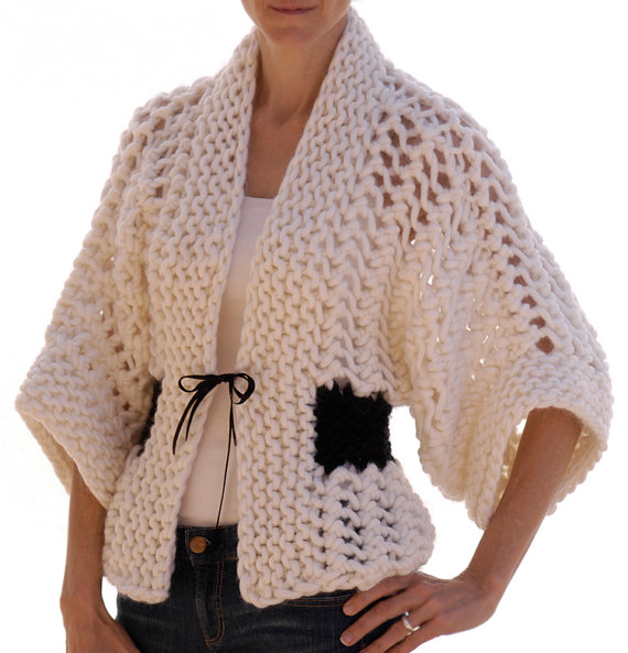 Knitting pattern for Openwork Kimono Cardigan