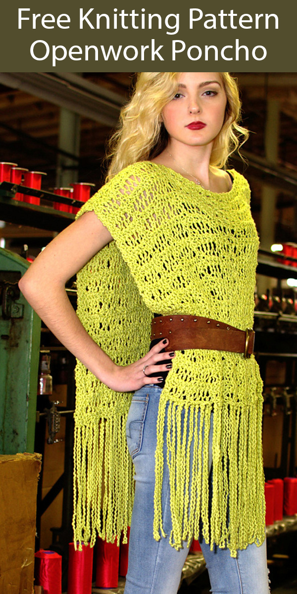 Free Knitting Pattern for Openwork Poncho