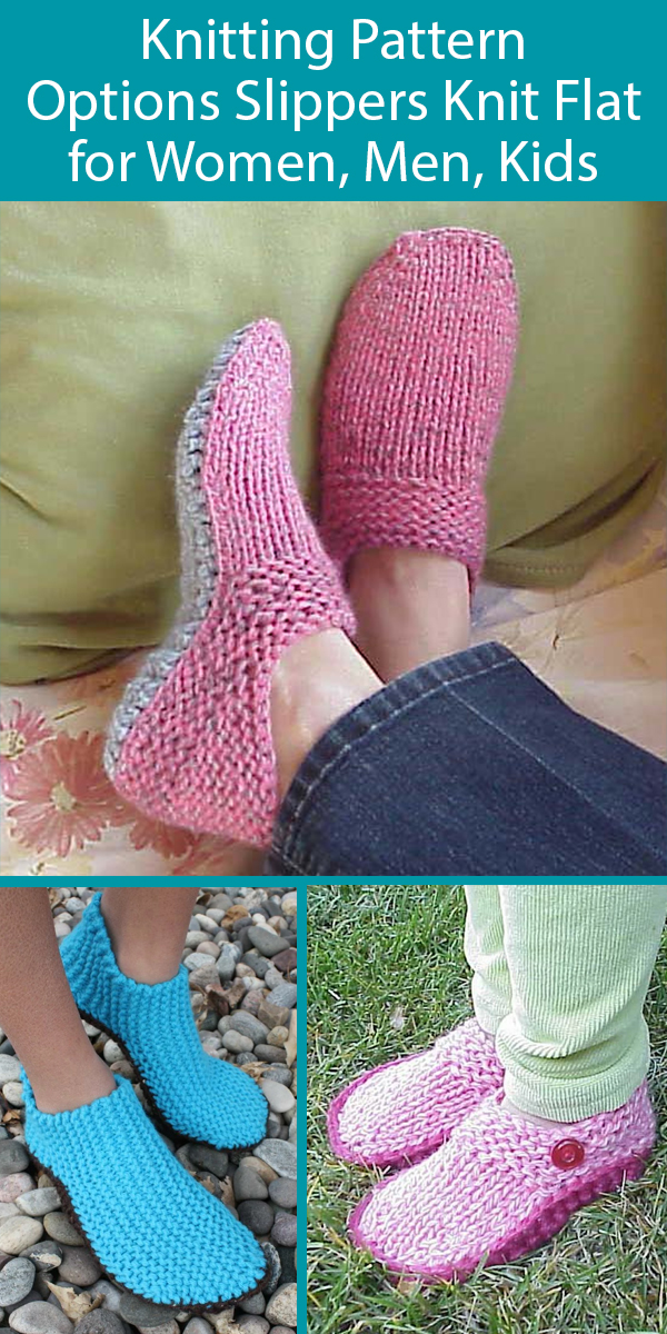 Options Slippers Knit Flat Knitting Patterns