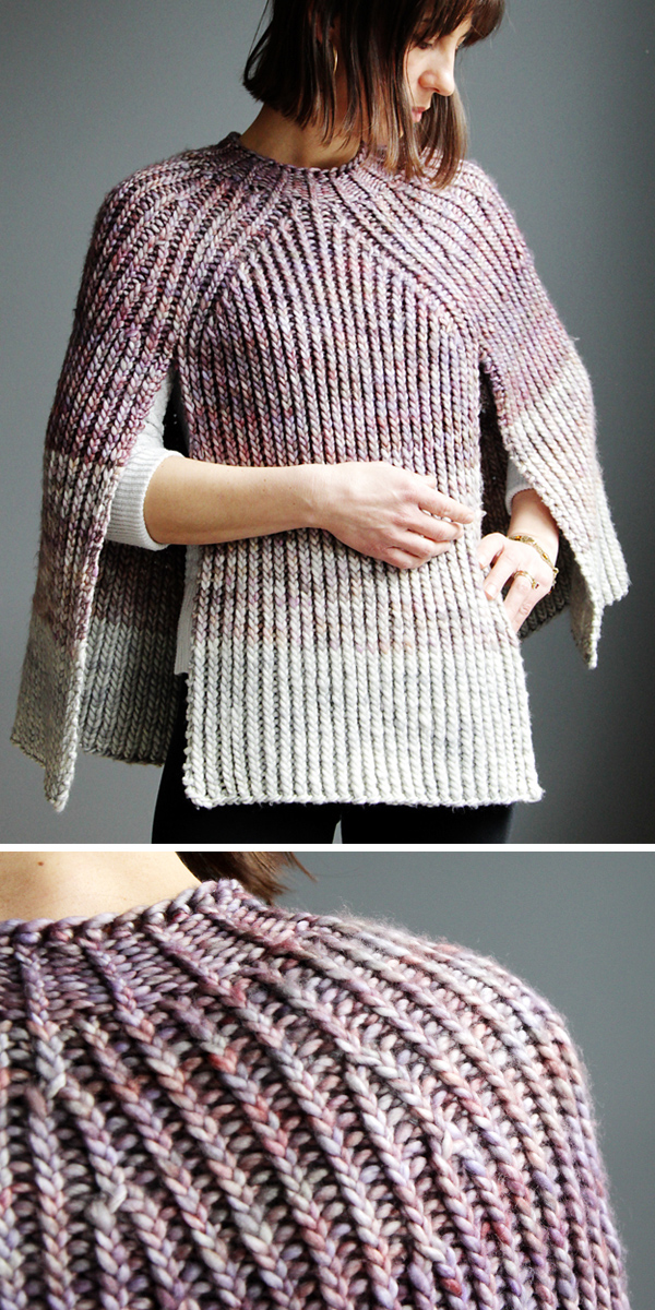 Knitting Pattern for Twisted Rib Poncho