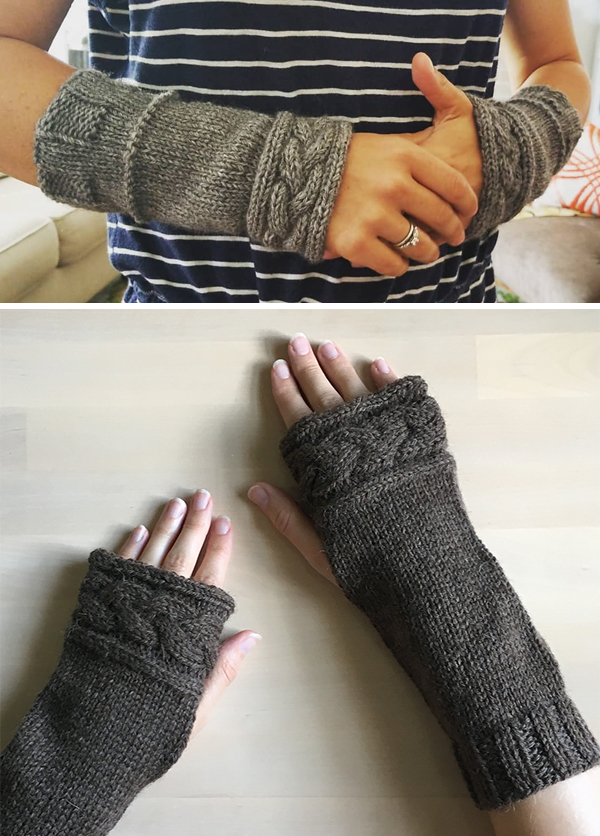 Free Knitting Pattern for Outlander Cable Arm Warmers