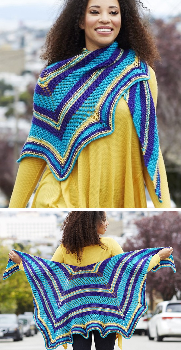 Free Knitting Pattern for Outside the Box Shawl