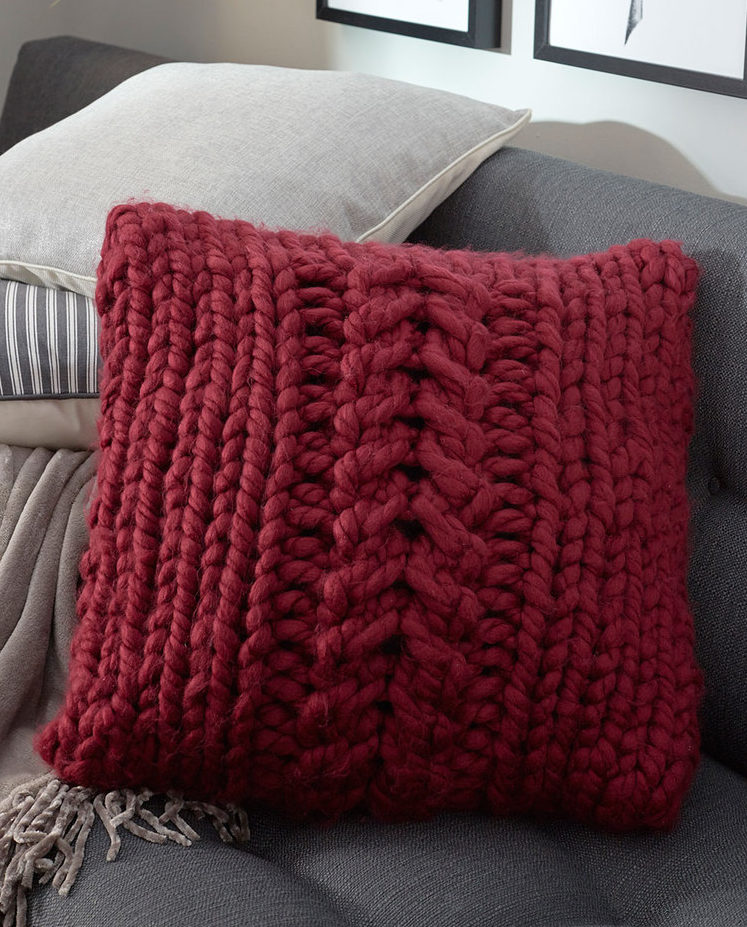 Free Knitting Pattern for Easy Oversized-Cable Pillow