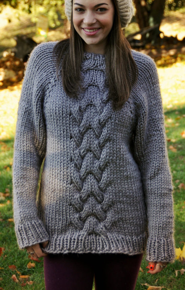 Knitting Pattern for Oversized Cable Sweater