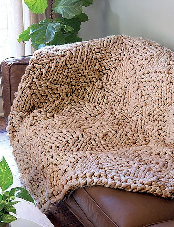 Free Knitting Pattern for Jumbo Triangles Throw