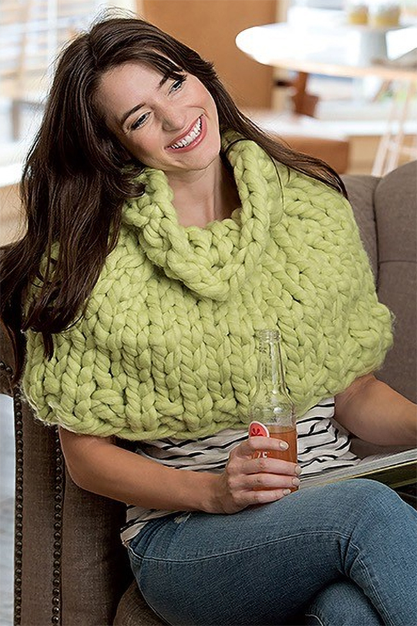 Free Knitting Pattern for Jumbo Shoulder Cozy