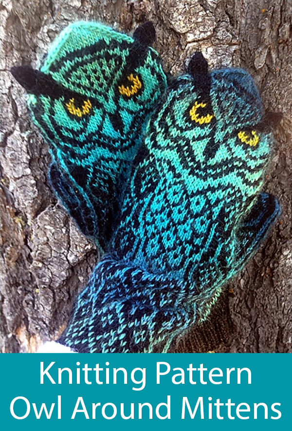 Knitting Pattern for Owl Around Mittens