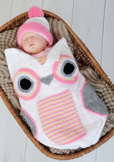 Knitting Pattern for Owl Baby Cocoon