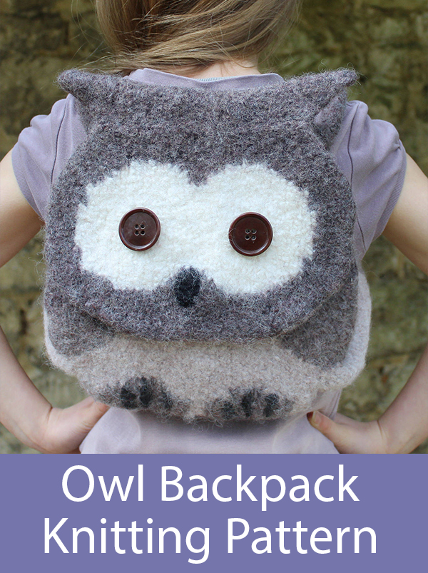 Knitting Pattern for Owl Backpack