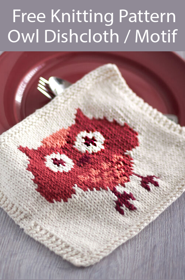 Free Owl Dishcloth Knitting Pattern or Afghan Square