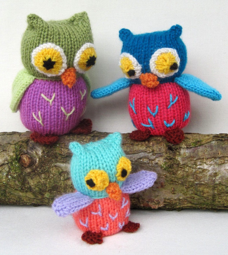 Knitting Pattern for Owl Family Toys