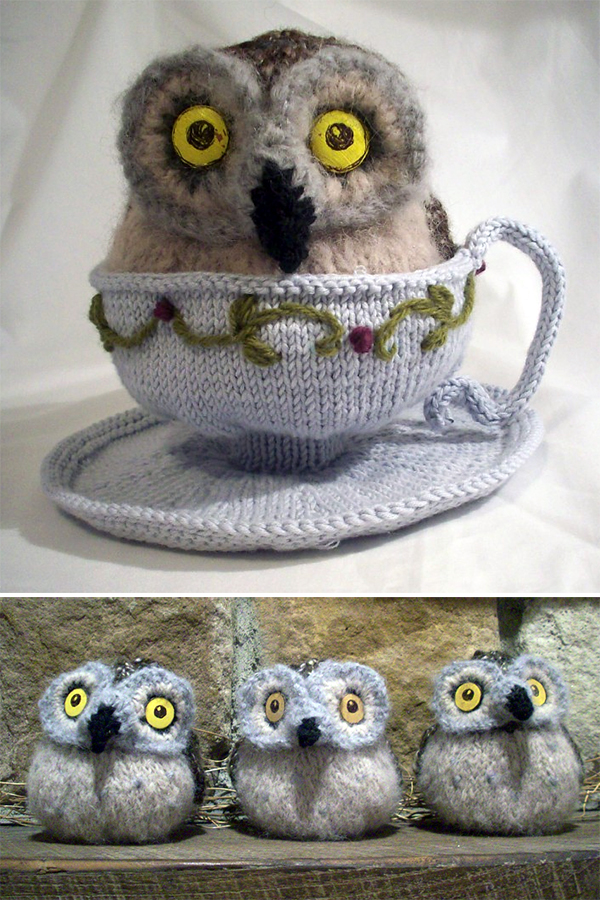 Free Knitting Pattern for Owl in a Teacup