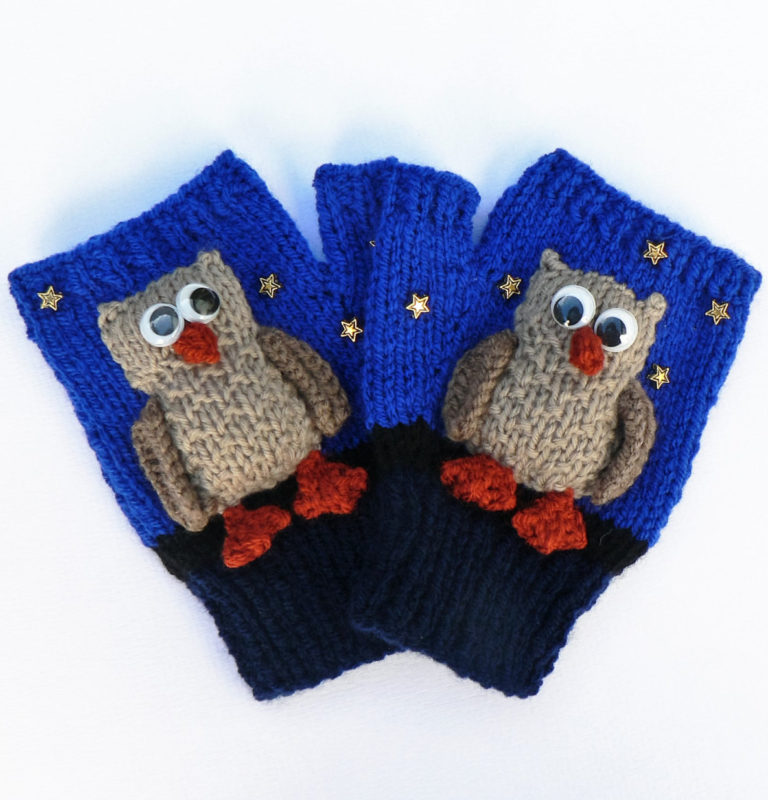 Knitting Pattern for Night Owl Mitts