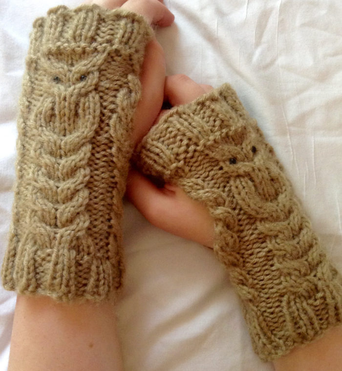 Knitting Pattern for Owl Cable Fingerless Mitts