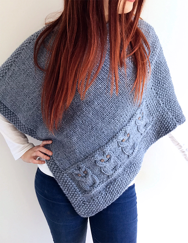 Knitting pattern for Owls Poncho