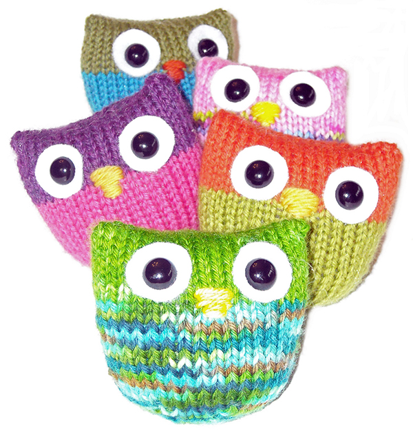 Free Knitting Pattern for Owl Puffs