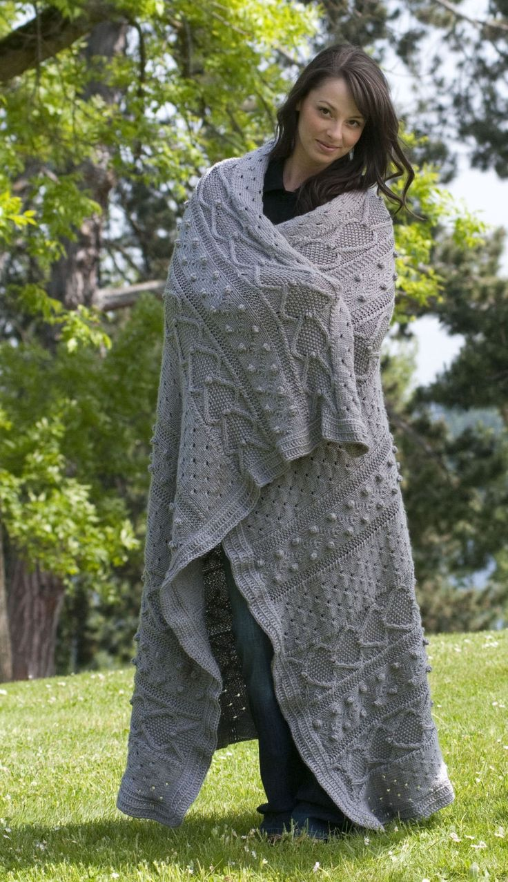 Free knitting pattern for Pacific Elegance Afghan and more cable blanket knitting patterns