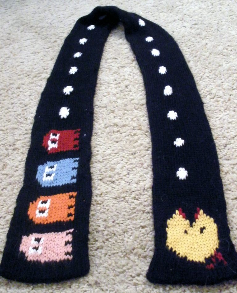 Free knitting pattern for Pacman Scarf