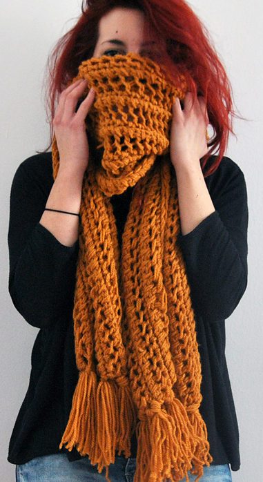 Free Knitting Pattern of One Row Repeat Panda Scarf