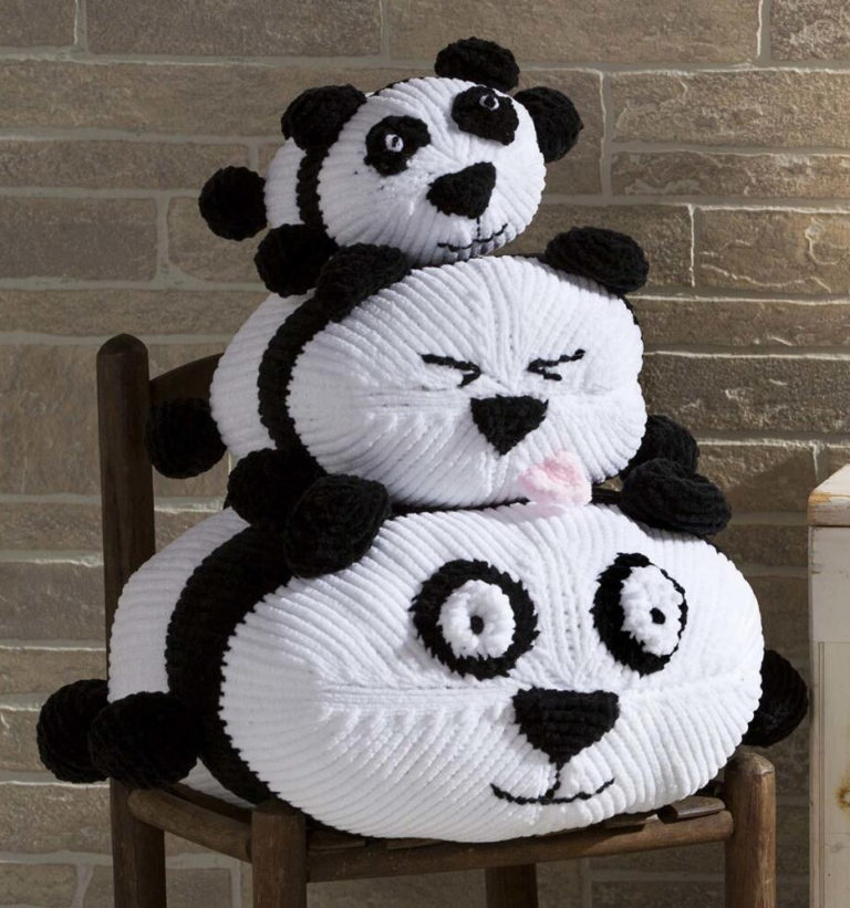 Free Knitting Pattern for Panda Stack