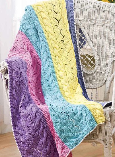 Knitting Pattern for Paneled Cable and Lace Afghan