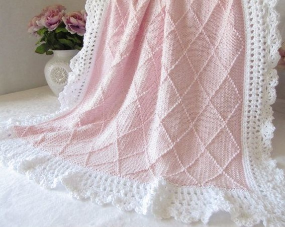 Knitting pattern for Paris Baby Blanket with a diamond pattern and more baby blanket knitting patterns