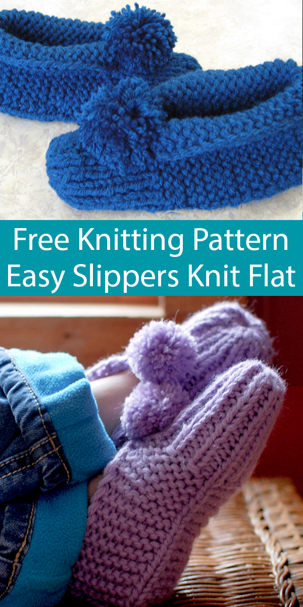 Free Knitting Pattern for Easy Parkspin Slippers Knit Flat