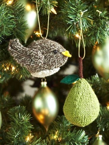 Free knitting pattern for Partridge or Pear Tree Ornaments and more holiday decoration knitting patterns