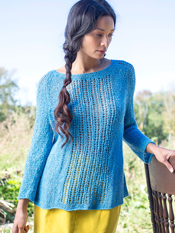 Passiflora Lace Pullover Sweater Free Knitting Pattern | More Lace Pullover Knitting Patterns at https://intheloopknitting.com/free-lace-pullover-knitting-patterns/