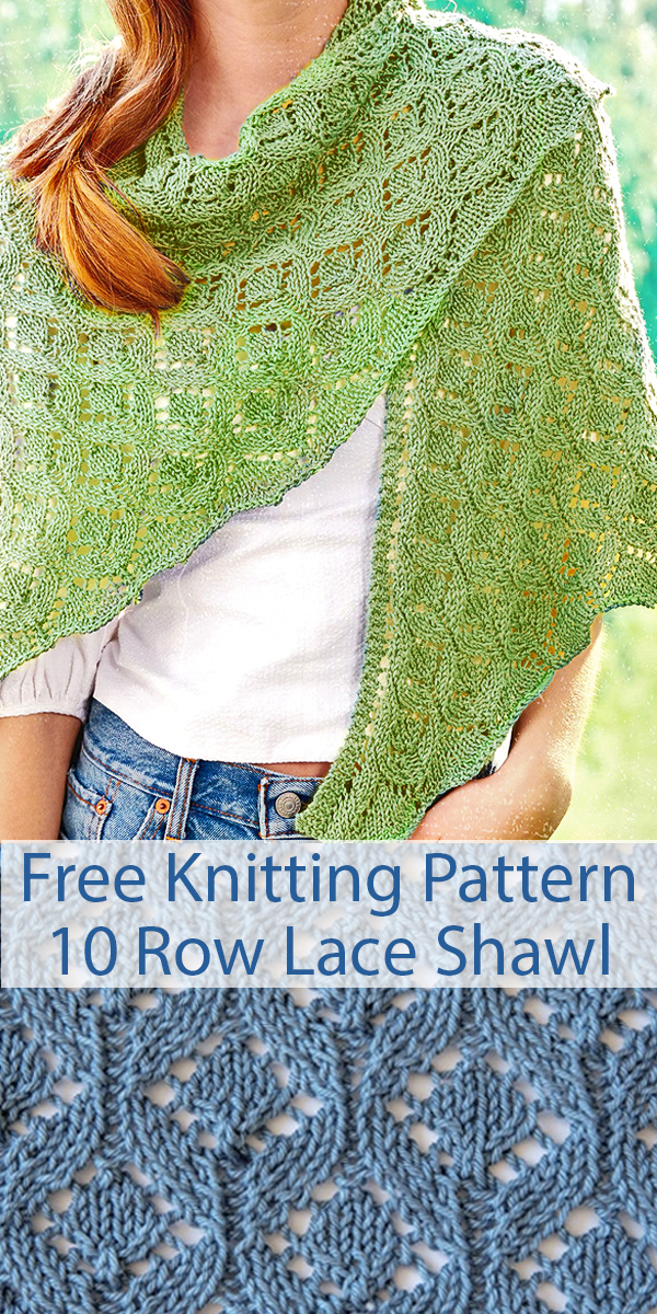 Free Knitting Pattern for 10 Row Repeat Pastoral Lace Shawl with Video Tutorial