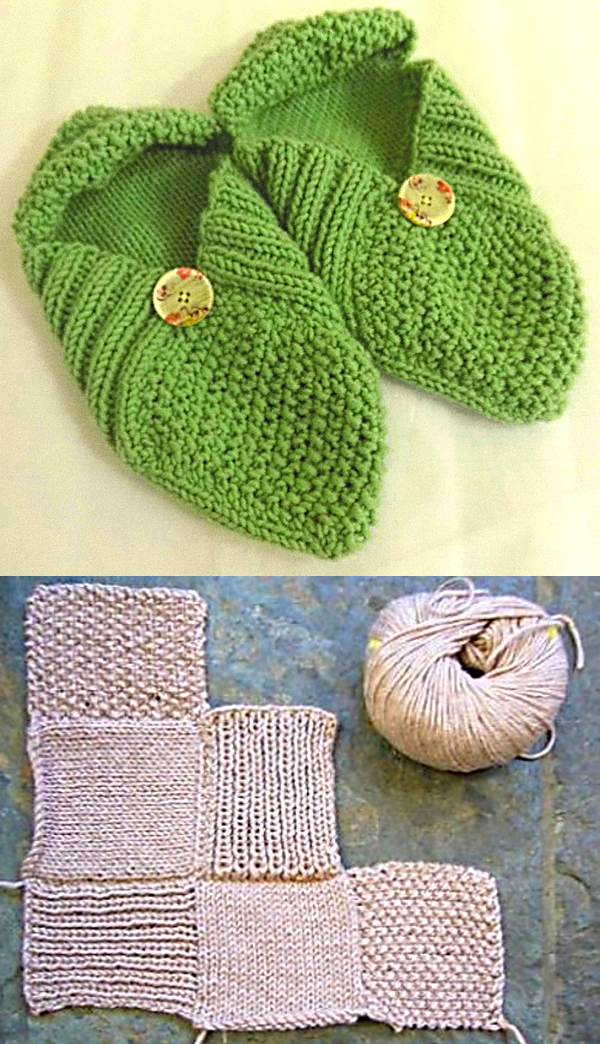 Free Knitting Pattern for Easy Patchwork Slippers