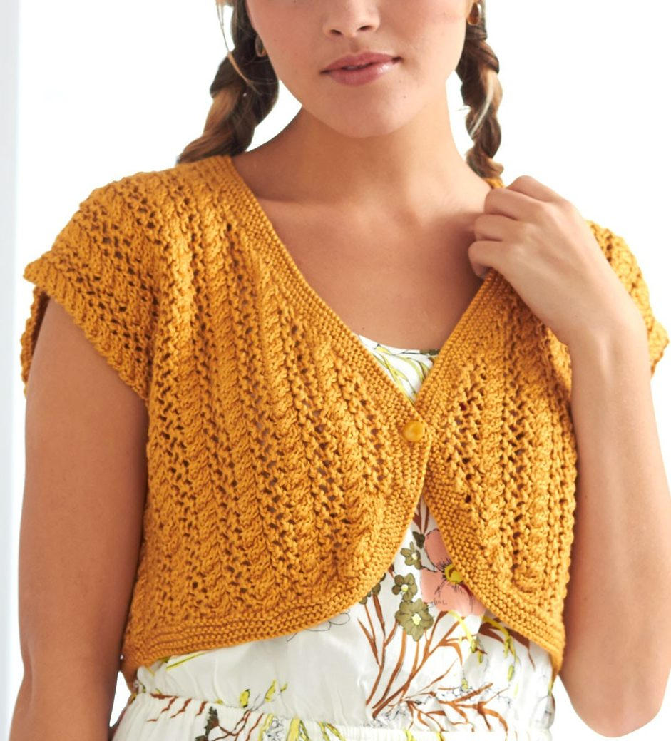 Free knitting pattern for Cable Lace Bolero