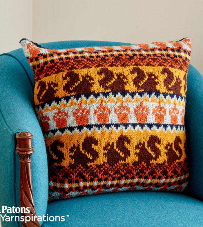 Free Knitting Pattern for Autumn Harvest Knit Pillow