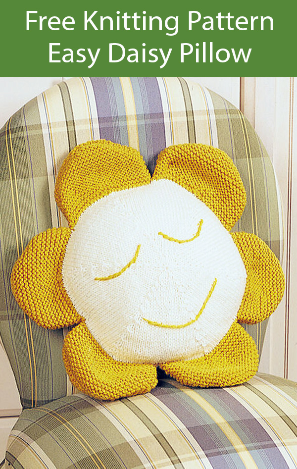 Free Knitting Pattern for Easy Daisy Pillow