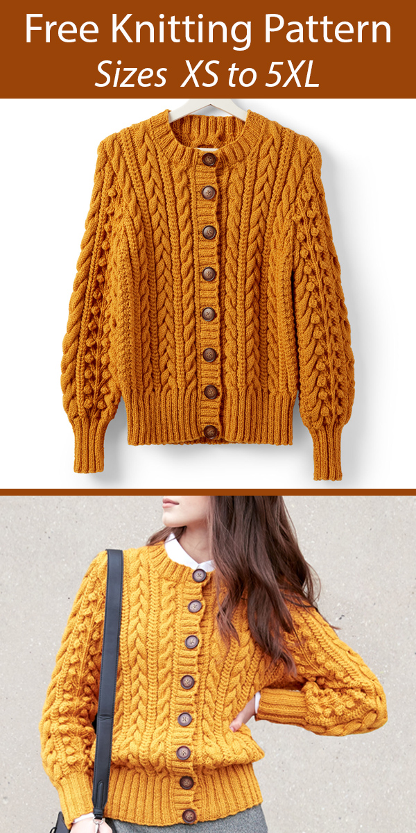 Free Knitting Pattern for Dovercourt Cardigan Cable Sweater