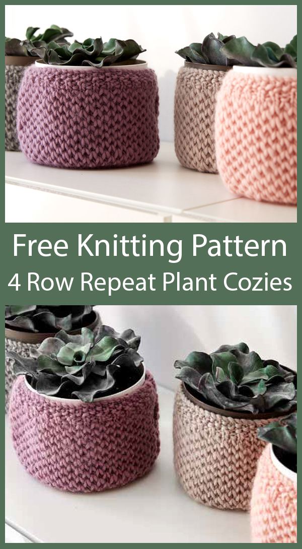 Free Knitting Patterns for 4 Row Repeat Plant Cozies