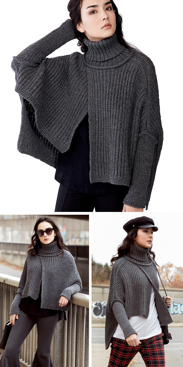 Free Knitting Pattern for 2 Row Repeat Wrapover Swoncho